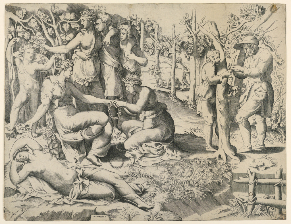 Landscape scene with figures of Flora, two nymphs and two gardeners. Flora and a nymph seated at left; another nymph asleep in foreground. In background, a nymph, accompanied by two male figures crowning Amor. At right, two gardeners working; in background, a farmer.