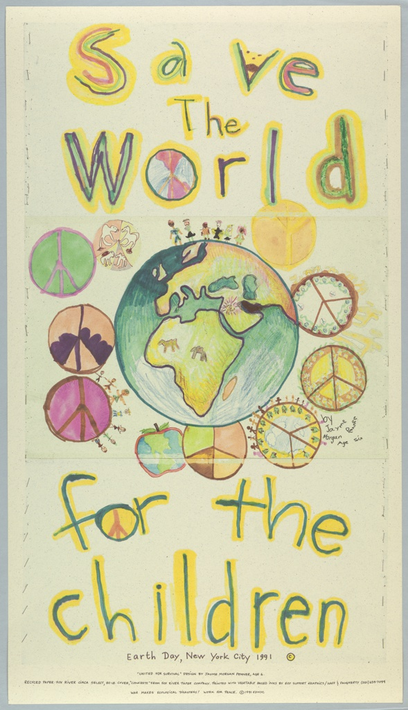 Child's drawing of world with peace symbols For Earth Day New York City