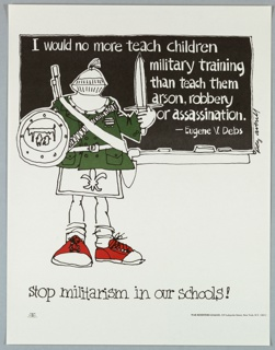 Cartoon drawing of child in coat of arms standing before a blackboard with quote by Eugene V. Debs for War Resisters League
