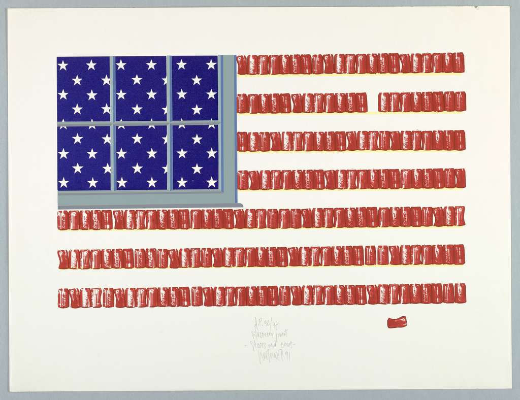 Depiction of the American flag that features white stars against a blue background behind a grey window in the upper left and rows of red Coke cans for the stripes. One stray red Coke can lies horizontally below the flag on the lower right.