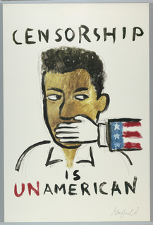 Print of black man with hand of white man with U.S. flag sleeve over mouth Commissioned by Virgin Records