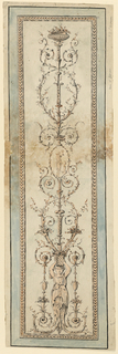 A candelabrum showing the half figure of a caryatid with a flower basket at the bottom, a sacrificing man in an ovoid in the upper center, a bowl on top. Framing moulding. Paper margins.