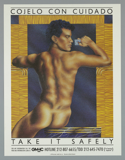 Print of naked man holding condom For Gay Men's Health Crisis, Inc.