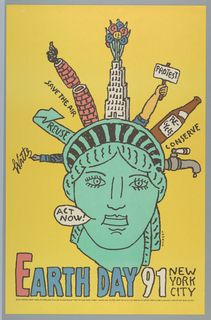 "On yellow ground, the head of the Statue of Liberty, the points of her crown made up of components related to recyling and activism; from left to right: a fountain pen inscribed with the word ""Write,"" a curving green arrow inscribed with the word ""REUSE,"" a red brick chimney divided in half emitting smoke inscribed with the words ""SAVE THE AIR,"" 
