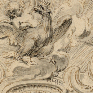 """Within a rocaille cartouche frame is a sunburst surrounding a putto on the back of an eagle, wings outspread. The eagle rests on a cloud and holds a bolt of lightning with its right foot.  Verso: fragment of geometrical accounting (in pencil) in """"p(ied)s"""" and """"po(uces)."""""""