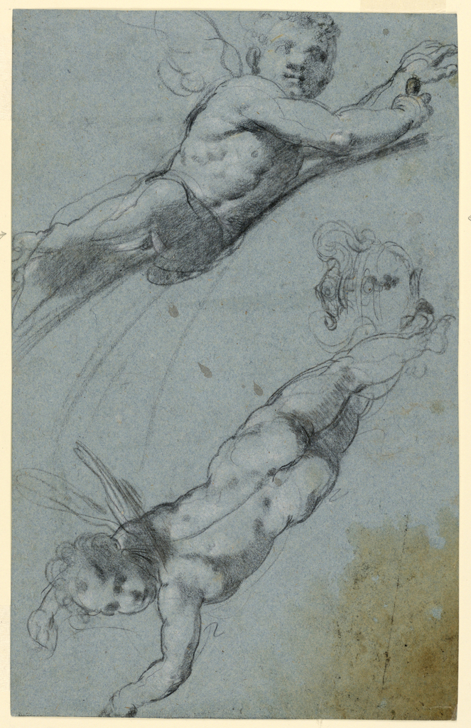 Drawing, Sketches of Two Winged Putti and an Urn