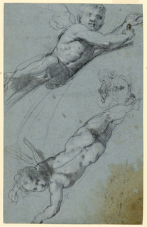 Sheet with two studies of putti. At top, a frontal view of a reclining, winged putti facing right. At bottom, a back view of a winged putti facing left. At their feet, a two handled urn is sketched.