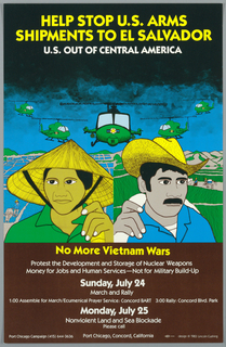 In the foreground, illustrated figures of a hispanic woman at left and man at right, rural agrarian landscape in background, military helicopters hovering above. Above the helicopters, clouds of black smoke form a solid black background. Below, a brown ground with printed text in yellow and white.