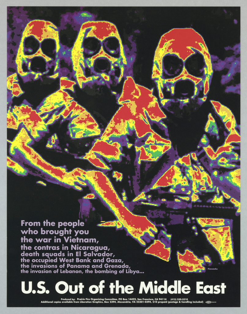 Heat-sensitive or infrared photograph of soldiers; for the Prairie Fire Organizing Committee.