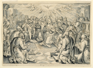 Radiant holy spirit surrounded by adoring angels and kneeling figures.