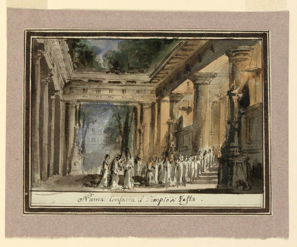 Horizontal rectangle. Crowd of figures in antique temple hall at twilight, light from hanging braziers in temple at right.