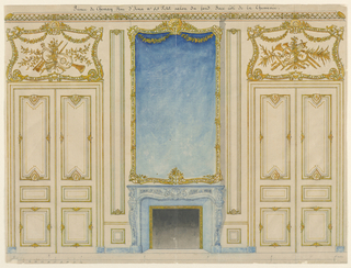 The chimney wall is flanked by double doors. Over the fireplace is a large mirror in a gilt frame decorated with garlands. The overdoors include trophies of musical instruments. The style of decoration is late Louis XV.
