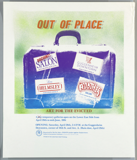Print of satchel with stickers; ad for galleries on Lower East Side of New York; organized by Political Art Documentation/ Distribution