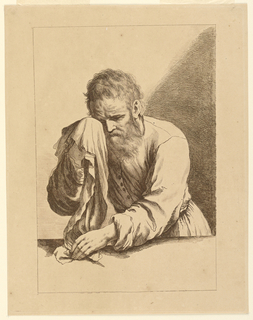 Saint Peter with a towel held to his eye with his right hand, the lower end in his left hand, resting on a table. He faces front, turned slightly to the left.