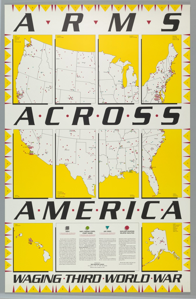 Recto: Map of U.S.A. with identifiers for Army, Navy etc. locations; verso: key list of military facilities Produced for the War Resisters League
