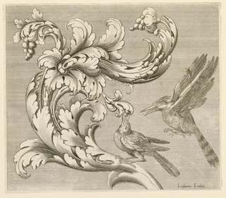 Print, Acanthus motif with two birds, 1589–1614