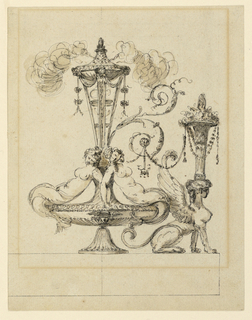 A burning brazier rises from an urn, with two sirens as handles. A leaf arabesque connects with a seated female sphinx, right, from whose head springs a cornucopia.