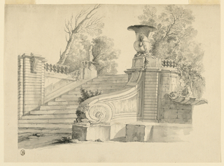 The staircase leads to a terrace.  A fountain is beside its left top corner. Another fountain is on the substructure of the terrace at right; water flows from a mask in a shell.