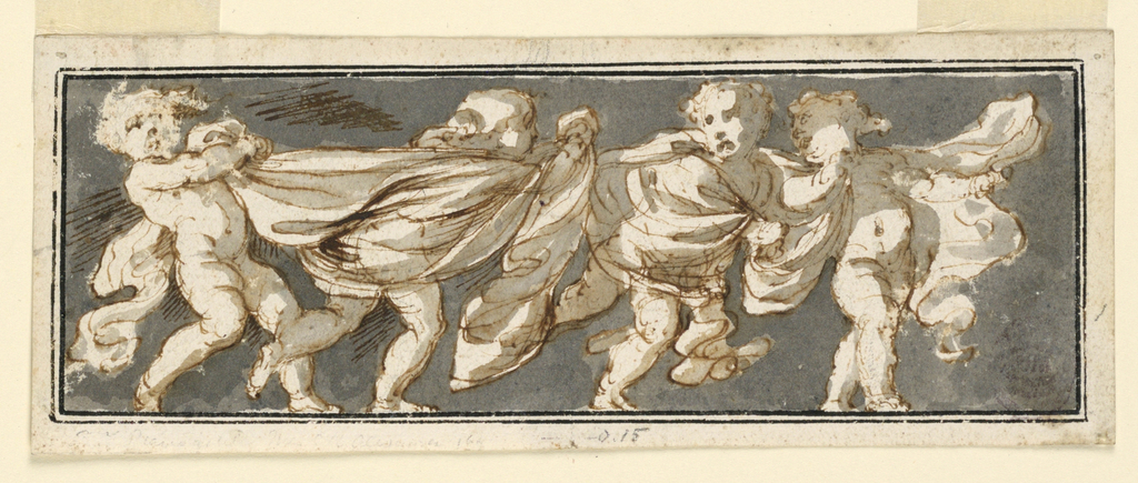 Horizontal basin with four children holding a cloth. The background is tinted grey. Framed by two lines.