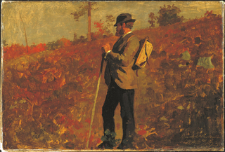 Horizontal view of a man, in center of canvas, with a reddish-brown beard, grey coat, dark trousers, soft hat, staff, and knapsack, standing on cut-over hillside, facing left.  Shrubs and trees, some with leaves turned with color, on brow of hill.