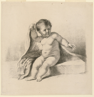 A boy sits naked on a slab of marble. With his right hand he seems to be lifting the  corner of a large cloak over his hsoulder.