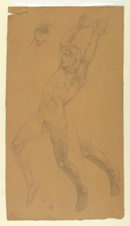Studies after the model for a male figure, flying. Nude boy shown in profile turned toward left with raised right leg and arms. The right hand is shown in detail, top left; the left leg, bottom right.