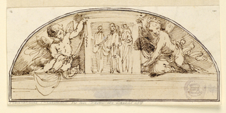 Horizontal rectangle with design for a lunette showing two putti holding a central square with figures.