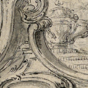 A palace atrium in rocaille architecture is obliquely shown.  An elaborate urn stands upon a pedestal in its center.  Some standing women are slightly indicated. Reverse: A small part of an ornament in graphite.
