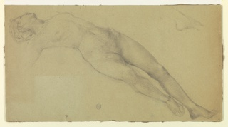 Sketch of a female nude figure reclining.