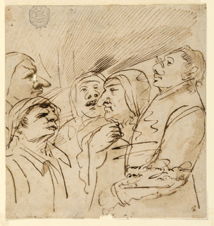 Five cartoon half-length figures, four in profile, one facing the viewer.