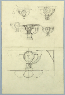 Sketches of several designs for the side of a console, one of which features an eagle.