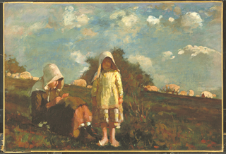 Against a background of patchy white clouds floating in a sun-filled early autumn sky above rolling meadows with distant light-yellow grazing sheep, two girls, one sitting, absorbed in reading a book, and another, younger, standing, facing the viewer, are depicted.
