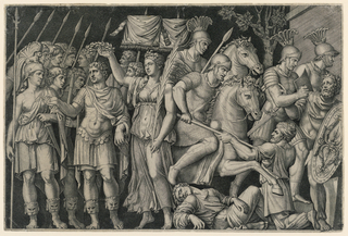 A section from the trajan's column relief. At left, stands Trajan between the allegorical figures of Roma and Victory. The latter is crowning Trajan with a wreath. At right, a group of soldiers conquer Dacier.