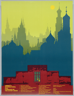 Print of Moscow skyline with man behind bars For Amnesty International