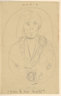 Sketch of a female figure within a circular frame.