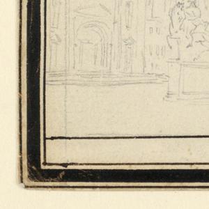 "A left S.Francesco, at right the Palazzo Municipale.  The equestrian statues of Duke Alessandro Farnese and of Duke Ranuccio Farnese are in the foreground.  Framed.  Caption: ""Piazza di'Cavalli a Piacenza"""