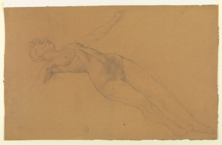 Sketch of a female nude figure reclining.
