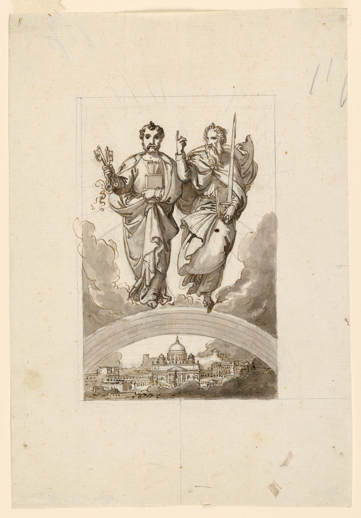 Saints Peter and Paul standing on clouds over an arch, under which the Vatican with Saint Peters Basilica is shown. Framing pencil line.