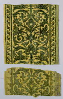 Symmetrical design of scrolls, birds, and mythical creatures in green cut and uncut velvet pile on yellow satin field. Selvage along right side of component a.