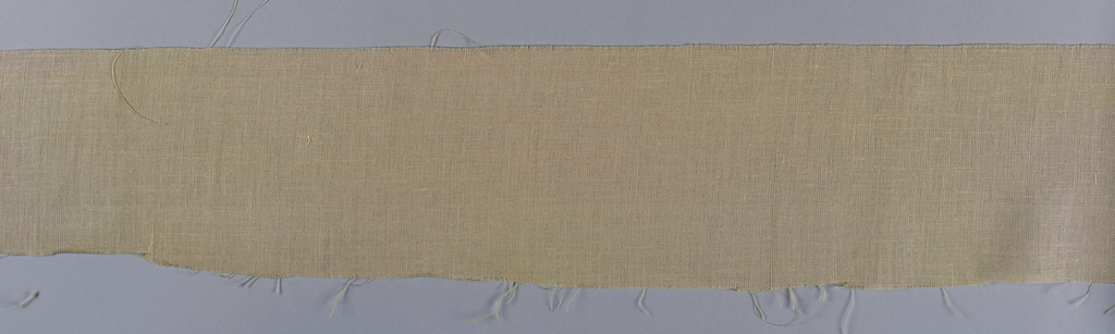Length of pinkish-tan cloth with two cord selvages. Ramie cultivated in Everglades, Florida.