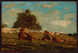 Underneath a sunny sky with light windswept clouds, a boy and girl rest in a meadow, while a large tree and grazing sheep are behind them.