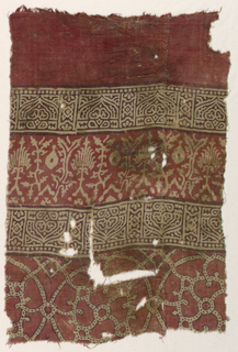 Design in brown and red on undyed fine cotton plain cloth.    In horizontal bands: 1. Upper plain red 2. Rectangles containing geometric ornament 3. Stylized floral forms 4. Repeat of rectangles containing geometric ornament 5. Interlacing dotted bands on the  bottom