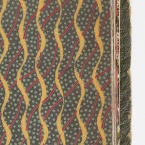 Selection of designs with the strong colors and contrasts of the mid-twenties with examples of large bold design and small figured patterns. Samples are bound in boards. Gilt lettering. The dark papers have been dyed (rongeant).