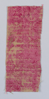 Small fragment of very worn, stamped red velvet.