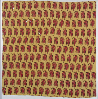 Fragment of cotton block- printed in shades of red on light brown ground, showing all-over pattern of stylized iris blossoms.