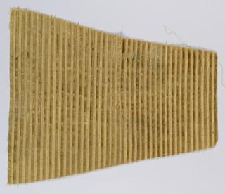 Striped silk velvet in tan cut and uncut pile.