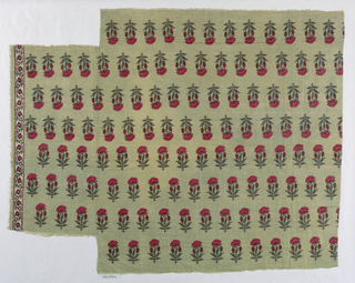 Fragment in red and green on light green ground. Stylized, allover floral pattern of a poppy seed plant. One border stripe present showing small-scale floral design on white background.