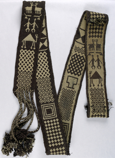 Long narrow band with braided cordage and tassels at one end. The band is worked in split-ply braiding in dark brown and natural-colored yarns, with various geometric pattern areas as well as human figures, camels, and deer. The two sides are identical but in the reverse color scheme, an effect created by the binary color system.