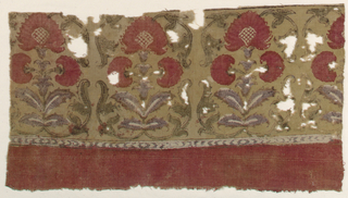 Fragment of a border with symmetrical plants with scrolling leaves on a dull yellow background. Plain red band at bottom.
