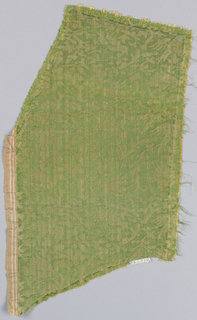 Branches and flying birds. Part of selvage at left side.
